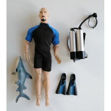 Zabawka nurek z zestawem do nurkowania i rekinem