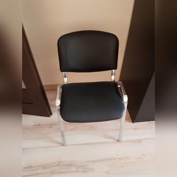 Krzesło skóra ekologiczna i nogi chromowane