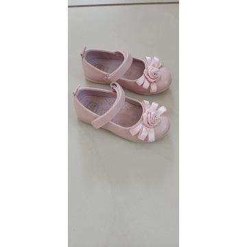 Buciki skórzane balerinki kapcie blady róż r. 24