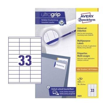 Etykiety samoprzylepne Avery 3421 70 x 25.4 mm