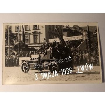 Pocztówka  Wojsko  3 maja 1936 Lwów  Oryginał