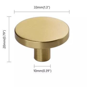 Złoty Uchwyt mosiężny gałka uchwyty mosiężne 33mm