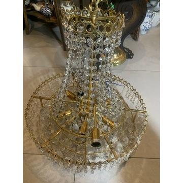 Żyrandol kryształowy, pozłacany, mosiądz, glamur
