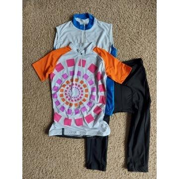 Nowy komplet na rower 2 koszulki i spodenki S/M