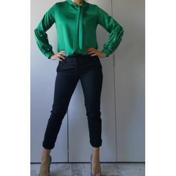 Zestaw spodnie Czarne Solar 36 i zielona bluzka 36