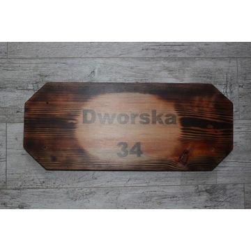 Tabliczka adresowa drewno