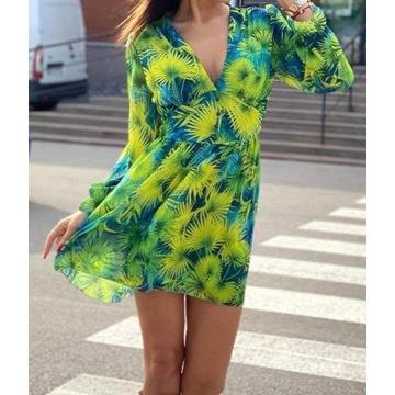 Sukienka zwiewa liście zielień guziki nowa