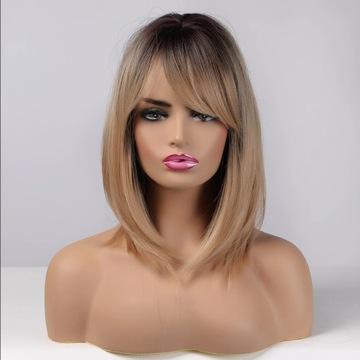 Piękna peruka, ombre blond grzywka