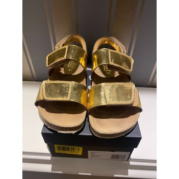 Chic sandały złote 31 zapinane na rzepy skóra