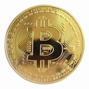 Bitcoin - BTC - Złoty kolor monety + KAPSEL