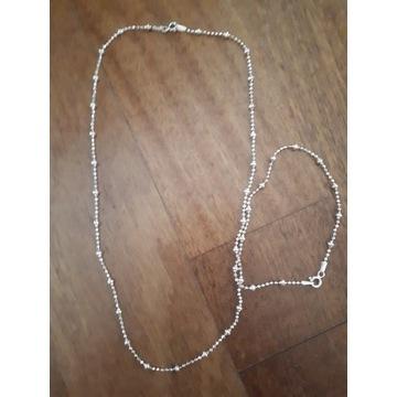 Łańcuszek +bronsoletka srebro komplet biżuterii