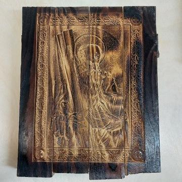 Ikona Apostoła Andrzej. Grawer na drewnie.