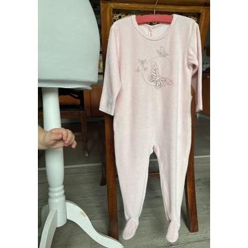 Śpioszki piżamka welurowa bawełniana r 86 pudrowy