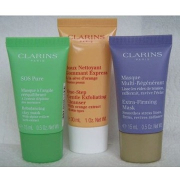 Clarins sos pure maska anti age peeling zestaw 3