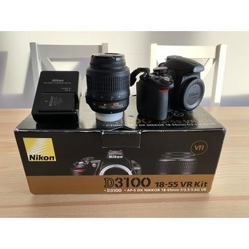Nikon D3100 Obiektyw 18-55 VR pełen komplet