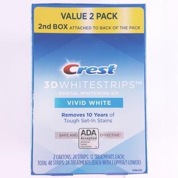 Paski wybielajace CREST 3D VIVID WHITE 12pa/6sa