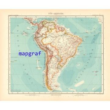 AMERYKA POŁUDNIOWA stara mapa z 1906 roku 94