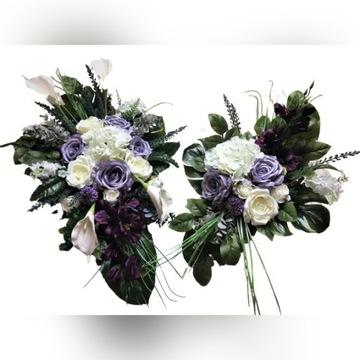Kompozycja kwiaty sztuczne cmentarz stroik grób