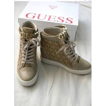 Przepiękne sneakersy botki Guess beżowe r. 38