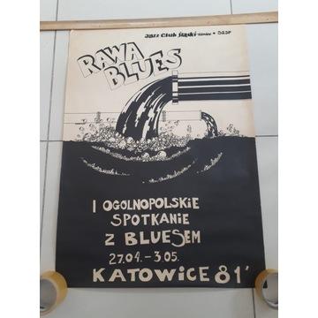 Plakat RAWA BLUES 1981 Oryginał 1 edycja