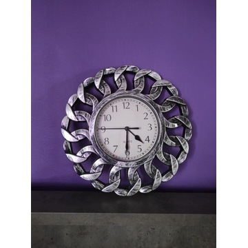Zegarek na ścianę rock goth metal ozdobny srebrny