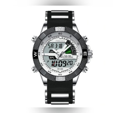 Zegarek sportowy Readeel - nowy - srebrno-czarny