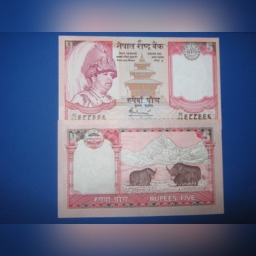 INDIE- 2 banknoty po 5 Rupees ,zestaw ,UNC