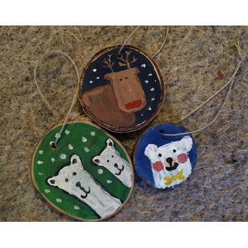 Drewniane ozdoby świąteczne (komplet)