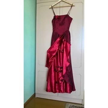 Suknia weselna/ wieczorowa bordowo czerwona + szal