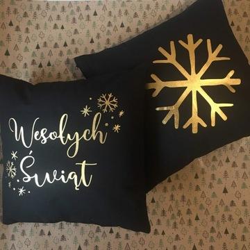 Zestaw poduszek Wesołych Świąt i Śnieżynka