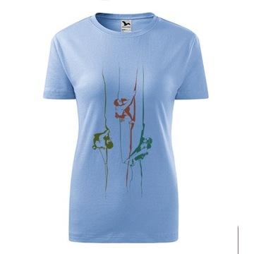 Koszulka damska z motywem wspinaczkowym S/M błekit