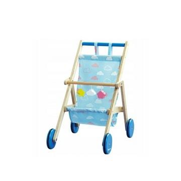 Elefun wózek drewniany dla lalek ciche koła