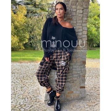 Minouu spodnie SLOUCHY Shanti krata beżowo czarna
