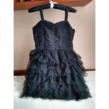 sukienka czarna dziewczęca H&M, 158, 12-13 lat