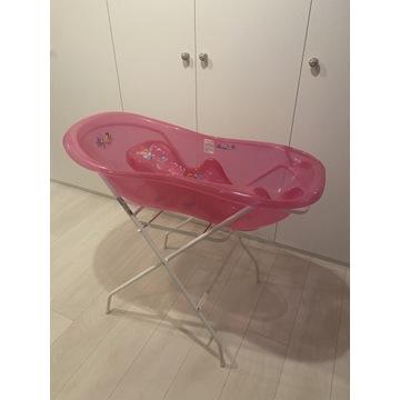 Różowa wanienka ze stojakiem i siedziskiem Tega