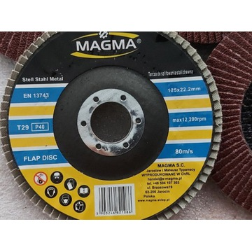 Tarcza lamelka 125mm gr.40 do metalu Magma PRO