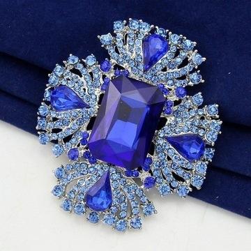 Broszka niebieska cyrkonie elegancka brooch BA115