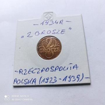 2 Grosze z 1934 roku, Rzeczpospolita, rzadsza.