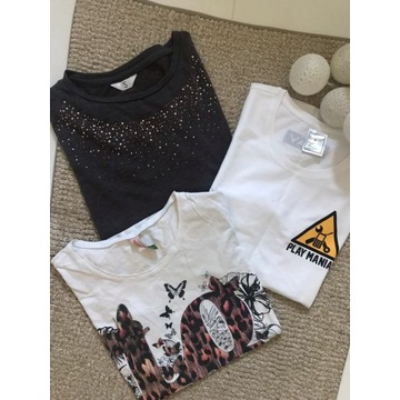Zestaw 3x bluzka damska 3/4 biały t-shirt S 36