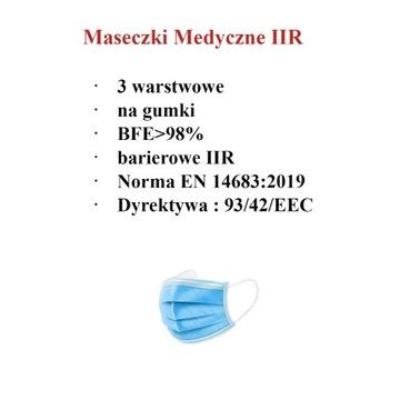Maseczki medyczne chirurgiczne  IIR  >98% 500 szt.