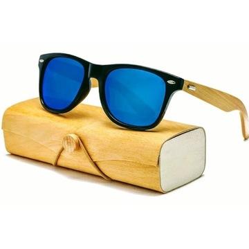 Drewniane okulary przeciwsłoneczne 2 ETUI filtr UV