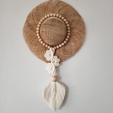 Makrama Kapelusz liście łapacz dekoracja boho