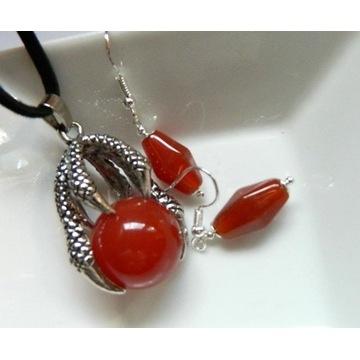 Karneol pomarańczowy, zestaw biżuterii z pazurem