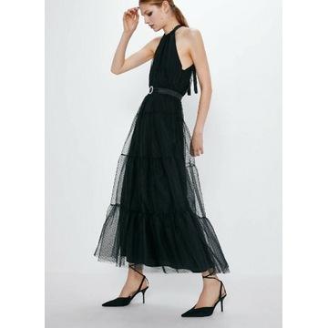 Sukienka Zara czarna długa karnawał Sylwester