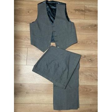Garnitur męski szary kamizelka spodnie marynarka
