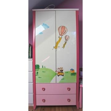Szafa drewniana do pokoju dziecka Różowo Biała
