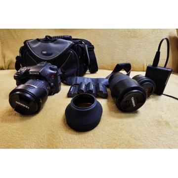 Sprzedam Sony A77V + 3 obiektywy + baterie + torba