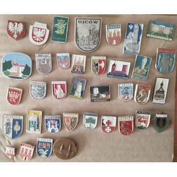36 sztuk odznak HERBY Polska Łomża Olsztyn Leszno