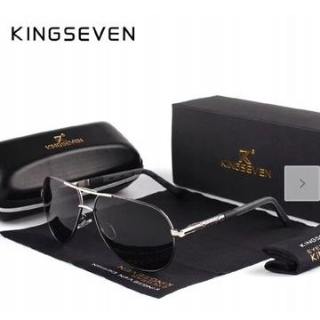 KINGSEVEN Vintage aluminiowe okulary + etui UV 400