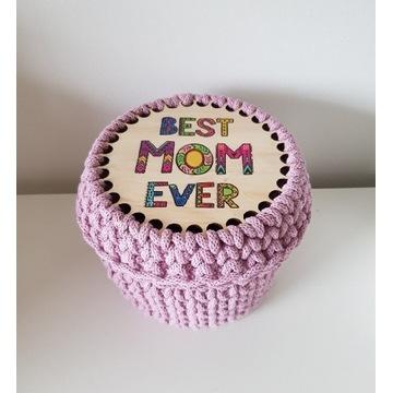 Dzień Matki koszyk kuferek ze sznurka bawełnianego